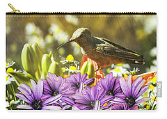 Hummingbird In The Spring Rain Carry-all Pouch by Diane Schuster