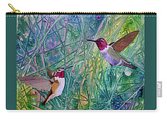 Hummingbird Pair Carry-all Pouch by Nancy Jolley