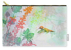 Carry-all Pouch featuring the digital art Hummingbird Summer by Christina Lihani