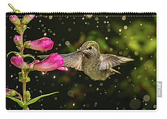 Carry-all Pouch featuring the photograph Hummingbird Visits Flowers In Raining Day by William Lee