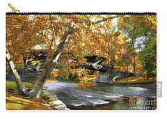 Carry-all Pouch featuring the photograph Humpback Covered Bridge In Autumn by Mel Steinhauer