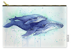 Humpback Whales Mom And Baby Watercolor Painting - Facing Right Carry-all Pouch by Olga Shvartsur