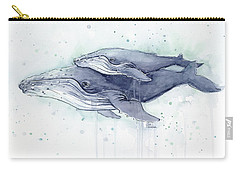 Humpback Whales Painting Watercolor - Grayish Version Carry-all Pouch by Olga Shvartsur