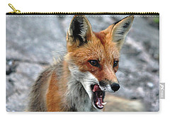 Hungry Red Fox Portrait Carry-all Pouch by Debbie Oppermann