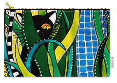 Hunter In Camouflage - Cat Art By Dora Hathazi Mendes Carry-all Pouch by Dora Hathazi Mendes