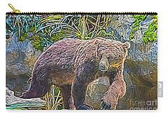 Carry-all Pouch featuring the digital art Hunting Bear by Ray Shiu