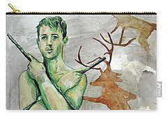 Carry-all Pouch featuring the painting Youth Hunting Turtles by Rene Capone