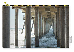 Carry-all Pouch featuring the photograph Huntington Beach Pier From Below by Ana V Ramirez