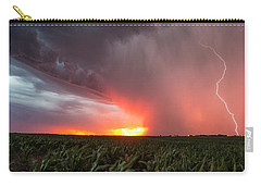 Carry-all Pouch featuring the photograph Huron Lightning  by Aaron J Groen