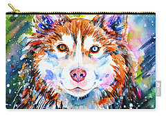 Carry-all Pouch featuring the painting Husky by Zaira Dzhaubaeva