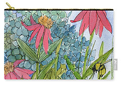 Hydrangea With Bee Carry-all Pouch