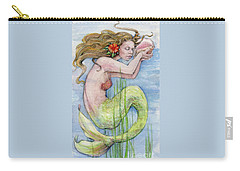 Carry-all Pouch featuring the painting Mermaid by Lora Serra