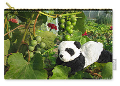 Carry-all Pouch featuring the photograph I Love Grapes Says The Panda by Ausra Huntington nee Paulauskaite