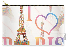 I Love Paris Mixed Media Carry-all Pouch by Georgeta Blanaru