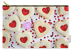 Carry-all Pouch featuring the photograph I Love You Heart Cookies by Teri Virbickis