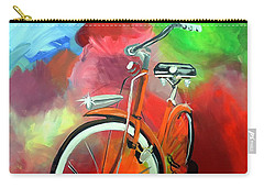 Carry-all Pouch featuring the painting I Ride My Bike by Tom Riggs