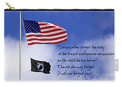 Carry-all Pouch featuring the photograph I Will Not Forget You American Flag Pow Mia Flag Art by Reid Callaway