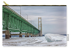 Carry-all Pouch featuring the photograph Ice And Mackinac Bridge  by John McGraw