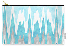 Carry-all Pouch featuring the mixed media Ice Blue Abstract by Christina Rollo