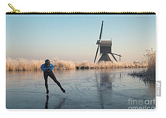 Ice Skating Past Frosted Reeds And A Windmill Carry-all Pouch