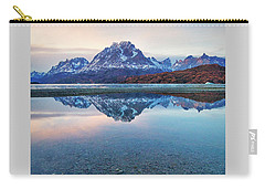 Carry-all Pouch featuring the photograph Icebergs And Mountains Of Torres Del Paine National Park by Phyllis Peterson