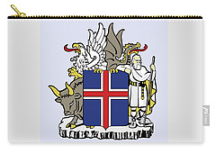 Carry-all Pouch featuring the drawing Iceland Coat Of Arms by Movie Poster Prints
