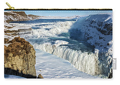 Carry-all Pouch featuring the photograph Iceland Gullfoss Waterfall In Winter With Snow by Matthias Hauser