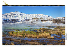 Carry-all Pouch featuring the photograph Iceland Landscape Geothermal Area Haukadalur by Matthias Hauser