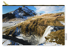 Carry-all Pouch featuring the photograph Iceland Landscape With Skogafoss Waterfall by Matthias Hauser