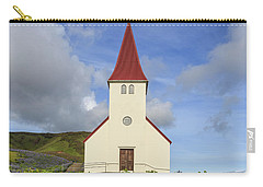 Carry-all Pouch featuring the photograph Icelandic Church Among The Fields Of Lupine by Edward Fielding