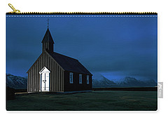Carry-all Pouch featuring the photograph Icelandic Church At Night by Dubi Roman