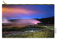 Carry-all Pouch featuring the photograph Icelandic Geyser At Night by Dubi Roman