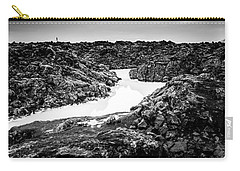 Icelandic Silica Stream In Black And White Carry-all Pouch