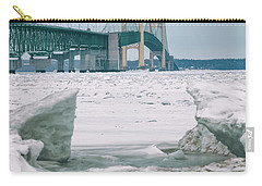 Carry-all Pouch featuring the photograph Icy Day Mackinac Bridge  by John McGraw