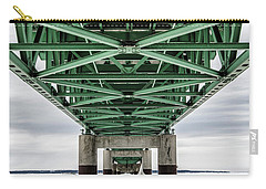 Carry-all Pouch featuring the photograph Icy Mackinac Bridge In Winter by John McGraw