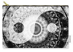 Carry-all Pouch featuring the painting Ideal Balance Black And White Yin And Yang By Sharon Cummings by Sharon Cummings