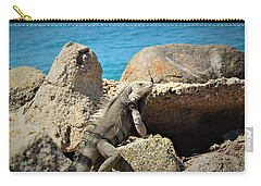 Carry-all Pouch featuring the pyrography Iguana  by Gary Smith
