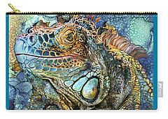 Carry-all Pouch featuring the mixed media Iguana - Spirit Of Contentment by Carol Cavalaris