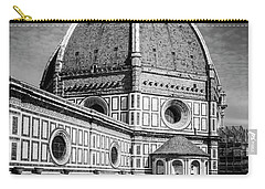 Carry-all Pouch featuring the photograph Il Duomo Florence Italy Bw by Joan Carroll