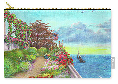Illustrated Beach Cottage Water's Edge Carry-all Pouch