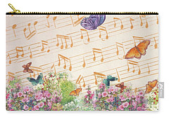 Illustrated Butterfly Garden With Musical Notes Carry-all Pouch