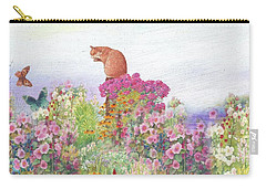 Illustrated Cat In Garden Carry-all Pouch