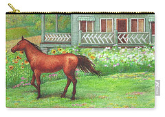 Illustrated Horse Summer Garden Carry-all Pouch
