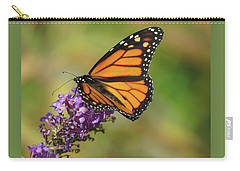Autumn In The Garden - Monarch And Purple Floret - Nature Photography Carry-all Pouch