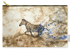 Carry-all Pouch featuring the painting Imperial Zebra by Zaira Dzhaubaeva