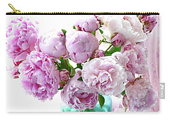 Carry-all Pouch featuring the photograph Impressionistic Romantic Pink Peonies Watercolor Romantic Floral Decor - Pink Peony Decor by Kathy Fornal