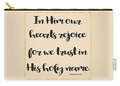 Carry-all Pouch featuring the painting In Him Our Hearts Rejoice Bible Psalm Quote by Georgeta Blanaru