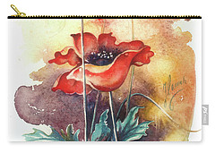 Carry-all Pouch featuring the painting In The Turquoise Coat by Anna Ewa Miarczynska