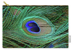 Indian Blue Peacock Macro Carry-all Pouch by Blair Wainman