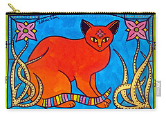 Indian Cat With Lilies Carry-all Pouch